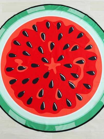 Tapis de la plage rond imprimé de melon de l\'eau
