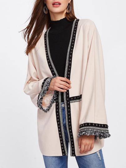 Embroidered Tape Fringe And Beaded Detail Kimono Coat
