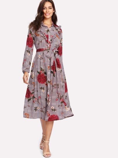 Mixed Print Frilled Detail Dress