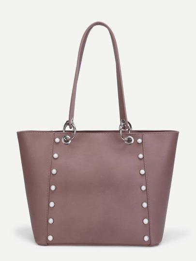Faux Pearl Detail PU Tote Bag