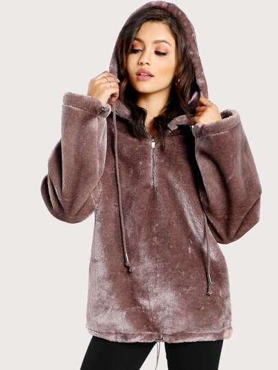 Zip Front Drop Shoulder Faux Fur Hoodie