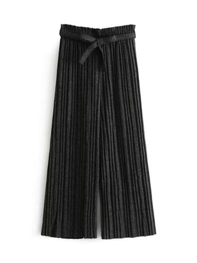 Wide Leg Self Tie Pleated Pants