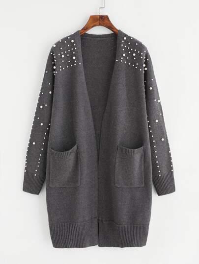 Langer Strick Pullover mit Perlen und Flicken