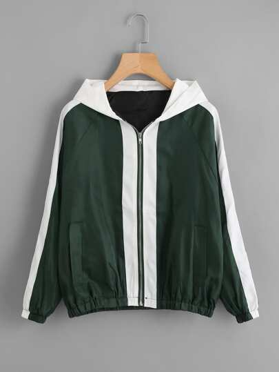 Color Block Hooded Zip Up Thick Jacket