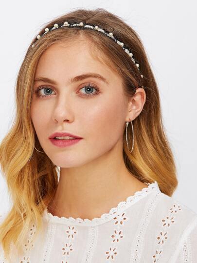 Diadema tejida con perla de imitación