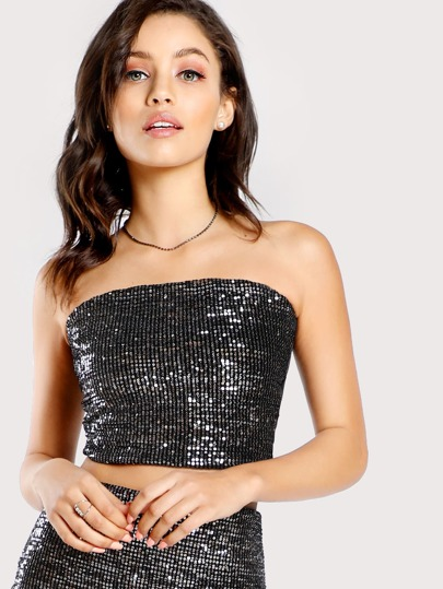Sequined Tube Top SILVER