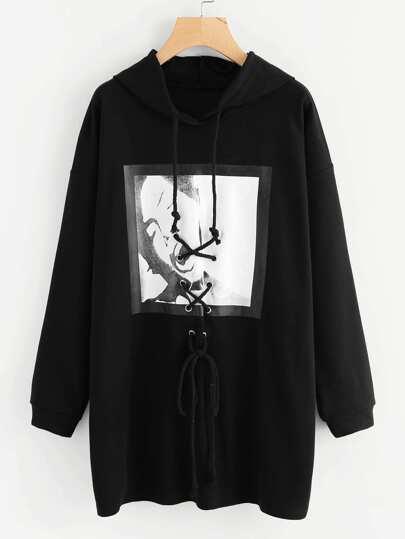 Camisa de capucha con cordón