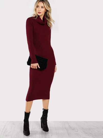 Turtleneck Long Sleeve Midi Dress BURGUNDY
