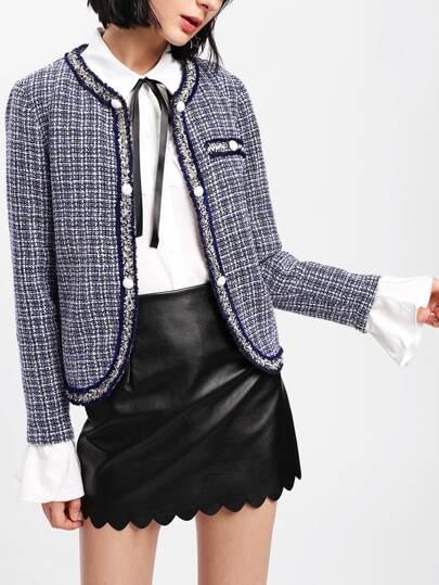 Contrast Ruffle Cuff Curved Tweed Blazer