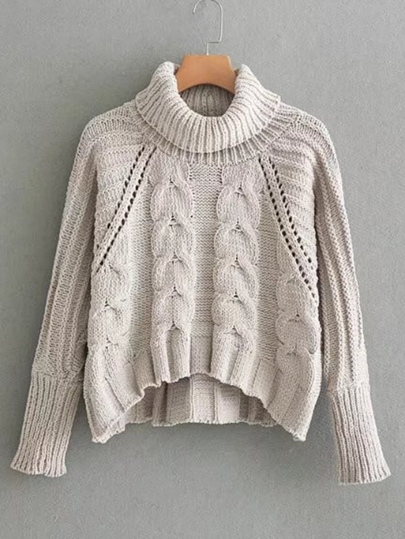 Pointelle Detail Turtleneck Cable Knit Sweater