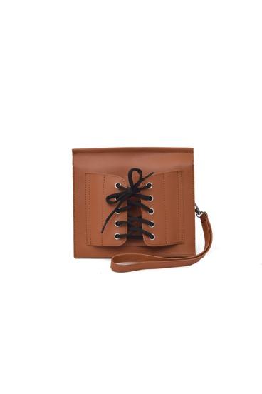 حقيبة اليدي بالرباط اللون البني