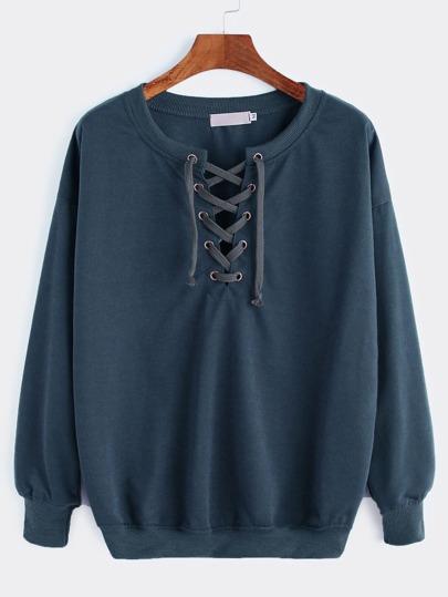 Drop Shoulder Lace Up Sweatshirt