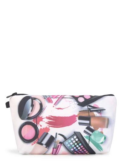 Bolsa con cremallera con estampado de productos cosméticos
