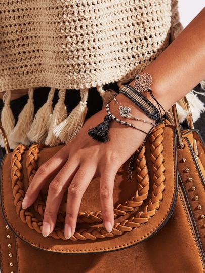 Set pulsera con diseño de fleco y flor