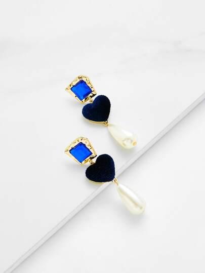 Pendientes con diseño de perla de imitación y gota de agua