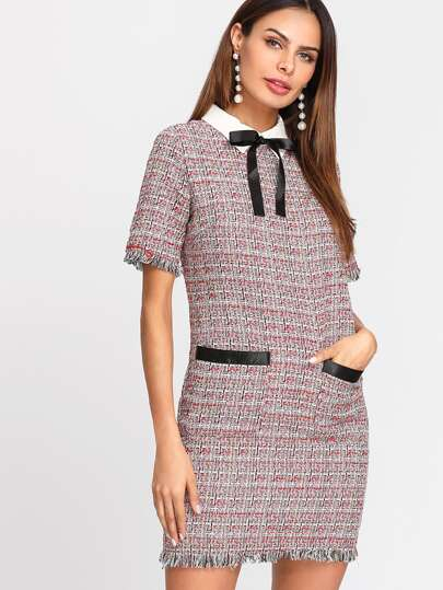 Contrast Bow Neck Fringe Trim Tweed Dress