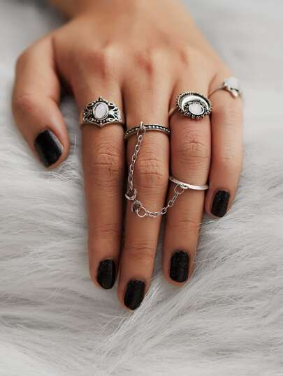 Moon Design Ring Set