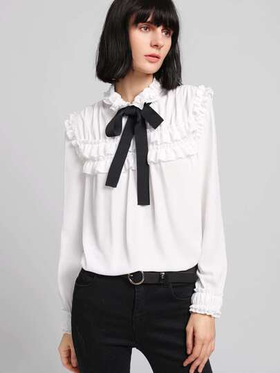 Frilled Detail Bow Tied Neck Blouse