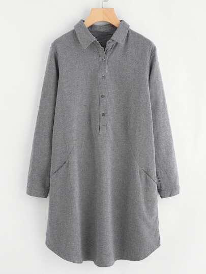 Robe chemise pied-de-poule