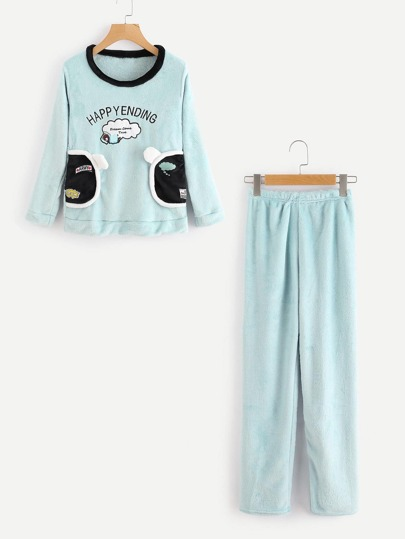 Letter Embroidered Long Pajama Set With Eyeshade