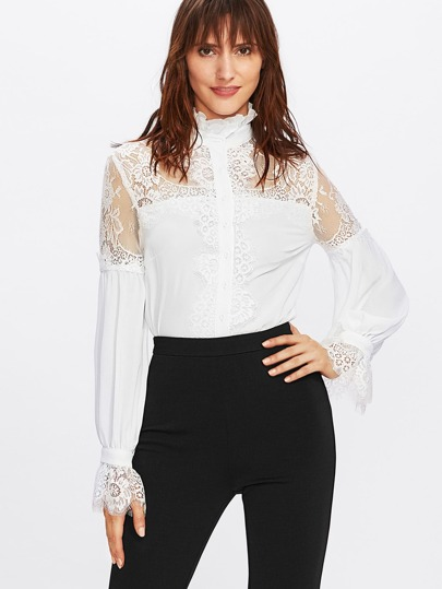 Frill Neck Floral Lace Shoulder And Cuff Blouse