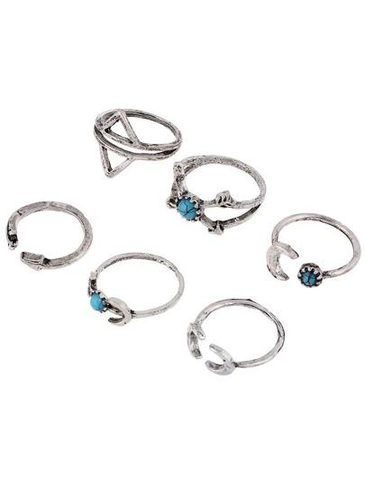 6 piezas de anillo en forma de flecha con turquesa
