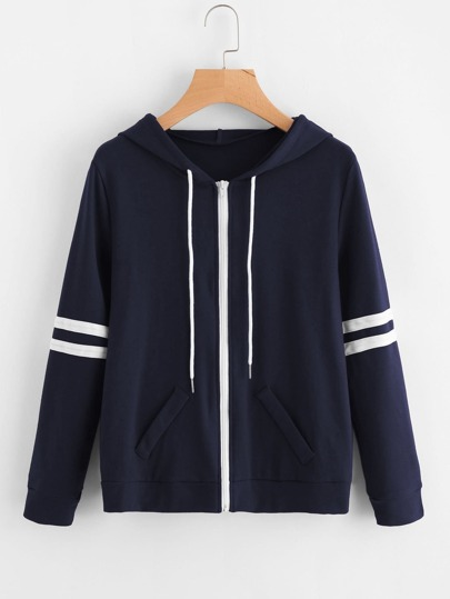 Varsity Striped Hooded Jacket