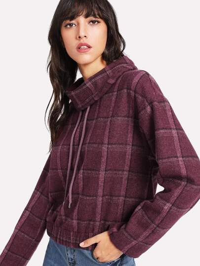 Drawstring Turtle Neck Plaid Pullover