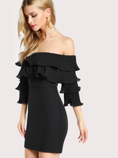 Off Shoulder Ruffle Flounce Dress BLACK