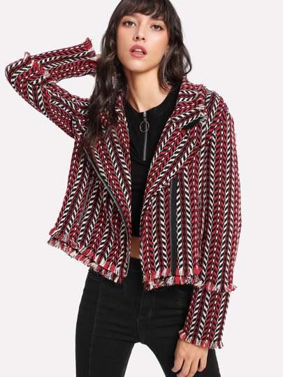 Frayed Trim Asymmetric Zip Tweed Jacket
