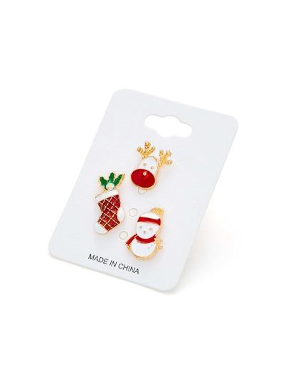 Christmas Snowman & Sock Design Brooch Set