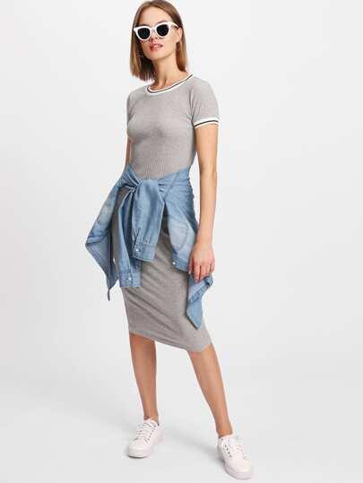 Striped Trim Ribbed Knit Dress