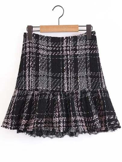 Lace Hem Tweed Skirt