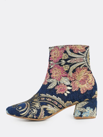 Multi Print Round Toe Booties MULTI