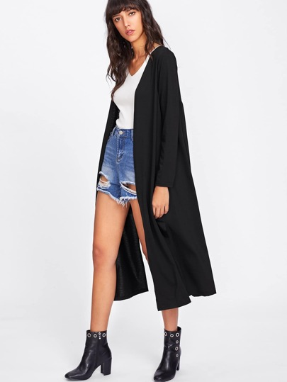 Side Split Longline Cardigan Sweater