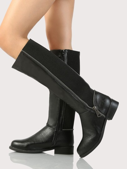 Over Size Zip Up Accent Knee High Boots BLACK