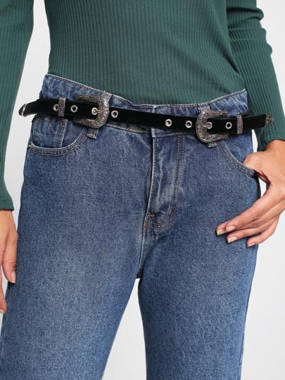 Cinturón de ante con hebilla doble
