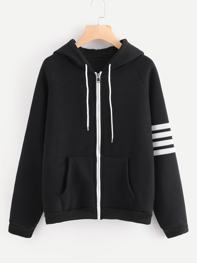 Striped Sleeve Hooded Jacket