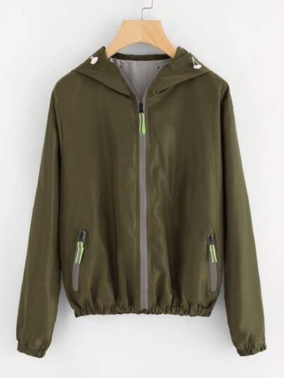 Shirred Trim Hooded Jacket