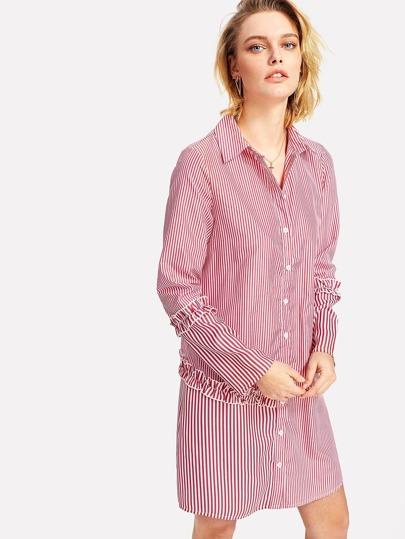 Frilled Detail Pinstripe Shirt Dress