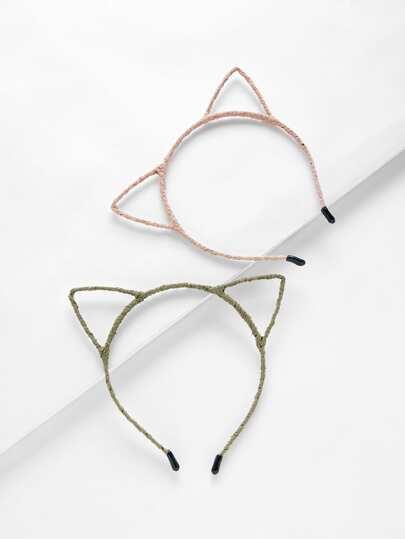 2 piezas de diadema estilo oreja de gato