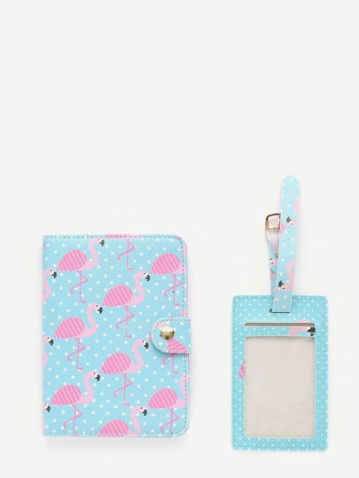 Flamingo Print PU Luggage Tag & Passport Package