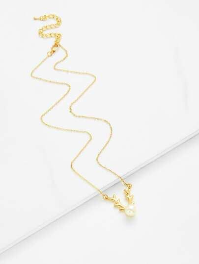 Collar de cadena colgante de perla artificial y astas de navidad
