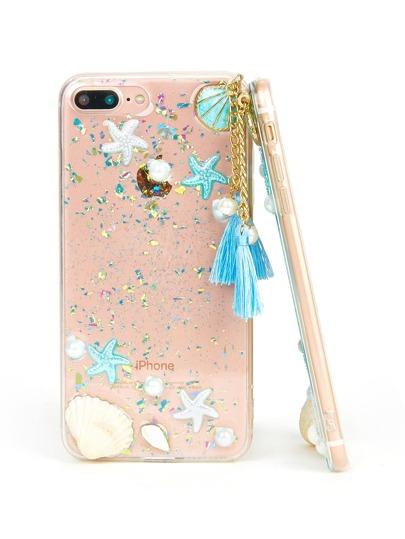 Funda de iPhone con estrella de mar y concha