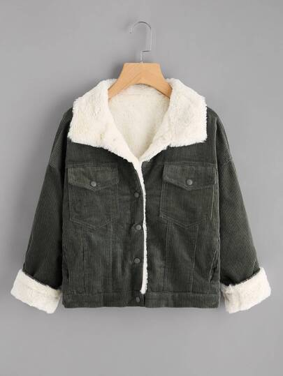 Contrast Fur Lining Corduroy Coat