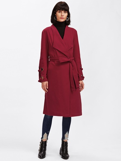 Split Sleeve Grommet Detail Waterfall Coat
