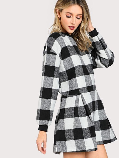 Drop Shoulder Gingham Fold Pleat Hem Dress