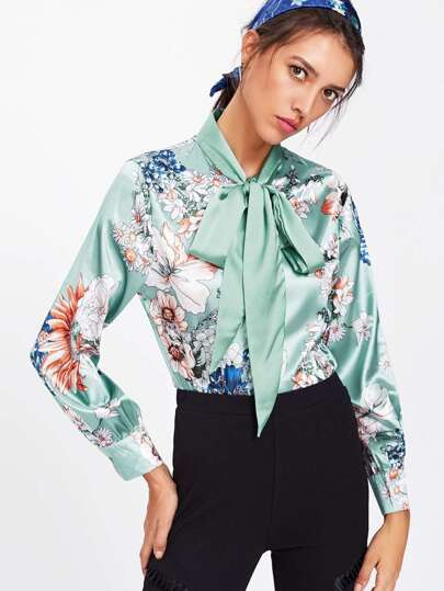 Flower Print Self Tie Bow Satin Shirt