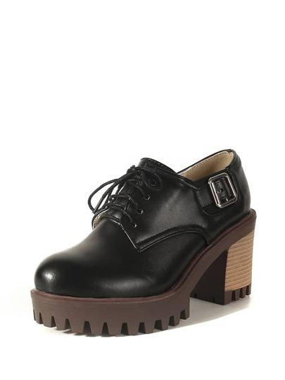 حذاء نسائي-بكعب فلين بابزيم بتصميم أكسفورد