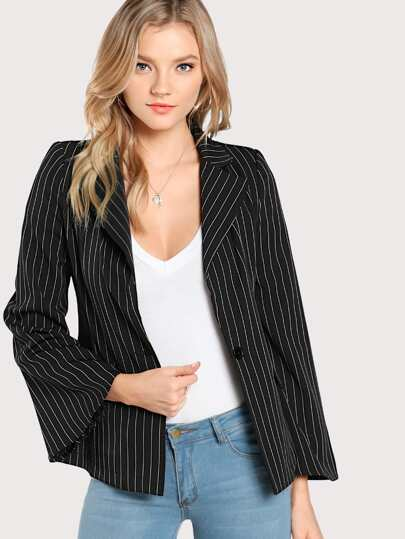Striped Long Sleeve Blazer BLACK WHITE